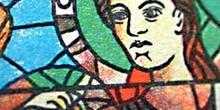 Detalle de la vidriera que representa la Epifanía de la Catedra