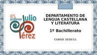 Presentación de Inicio de Curso - Lengua - 1º Bachillerato