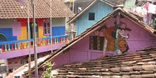 Vistas de los tejados decorados, Copi River, Jogyakarta, Indones