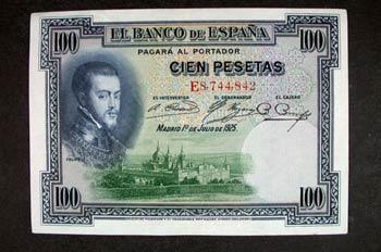 Anverso de un billete de cien pesetas acuñado por el Banco de Es