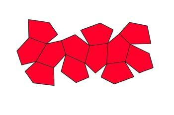 Dodecaedro pentagonal tetraédrico (desarrollo)