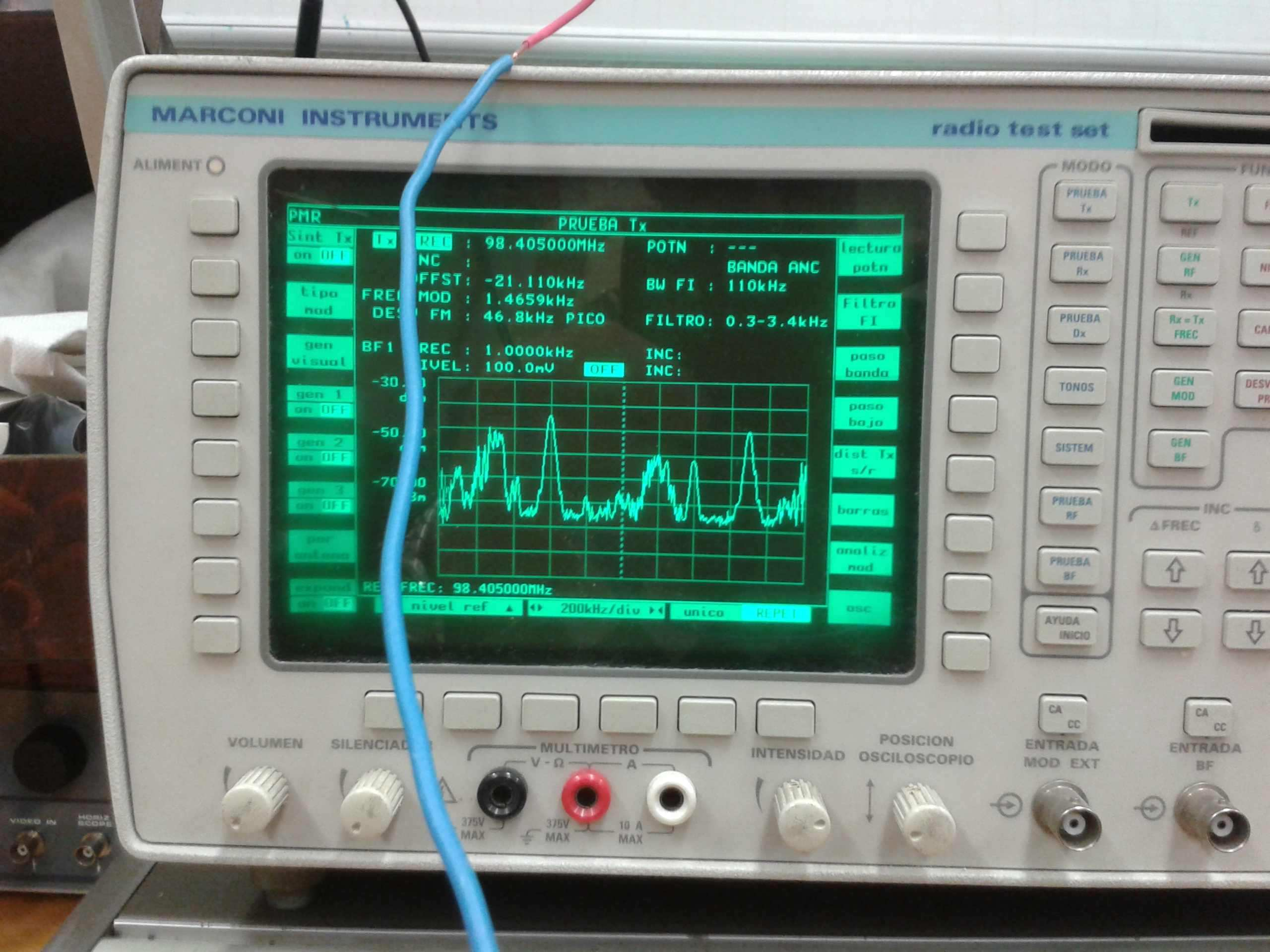 Portadoras de FM comercial en el analizador de espectros