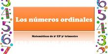 LOS NÚMEROS ORDINALES - MATEMÁTICAS 2º- 3º TRIMESTRE