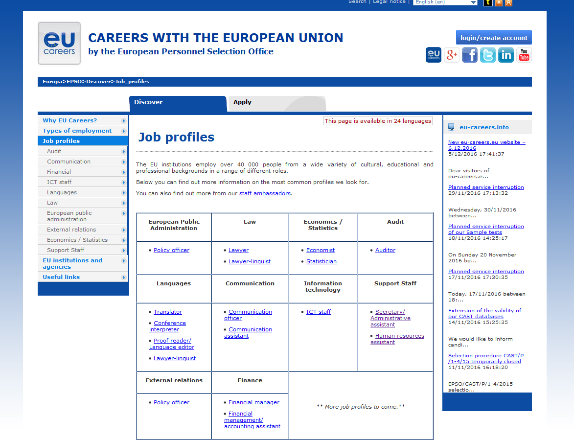Job Profiles in EU website