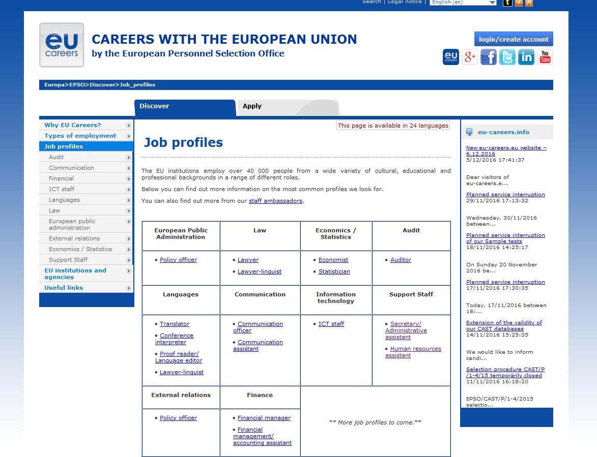 Job Profiles in EU website
