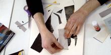 Hombre elaborando un collage