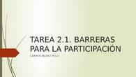 BARRERAS PARA LA PARTICIPACIÓN