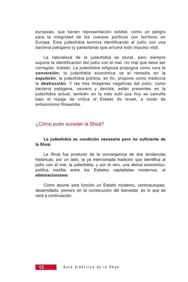 Página 12 de la Guía Didáctica de la Shoá