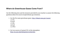 Greenhouse effect task answers