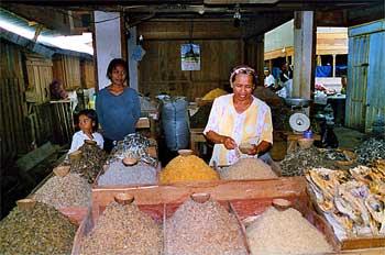 Tienda de pescado desecado, Sulawesi, Indonesia