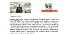 Carta del director IES PROFESOR JULIO PÉREZ. Puertas abiertas 2020