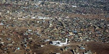 Vista aérea de arrabal, Rep. de Djibouti, áfrica