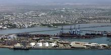 Vista aérea de puerto, Rep. de Djibouti, áfrica