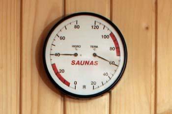 Sauna: medidor de humedad y temperatura