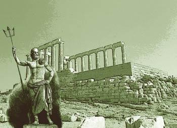 Fotomontaje de Neptuno con ruinas griegas al fondo