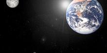 Vista desde el espacio de la tierra y la luna