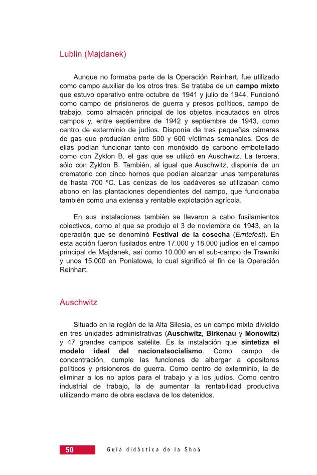 Página 50 de la Guía Didáctica de la Shoá