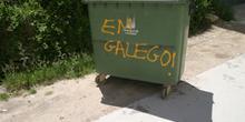 Pintada en gallego en un contenedor, Santiago de Compostela, La