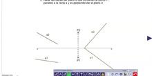 Plano definido por punto, recta paralela y plano perpendicular