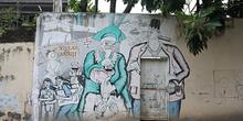 Pintada política en Bellas Artes, Jogyakarta, Indonesia
