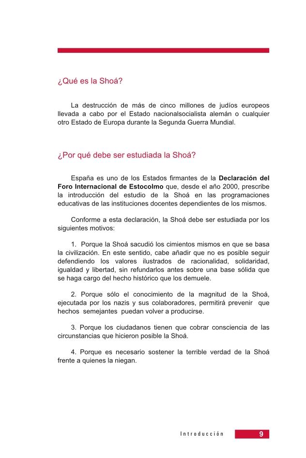 Página 9 de la Guía Didáctica de la Shoá