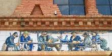Detalles de la fachada del Sindicato Agrícola de Pinell de Brai,