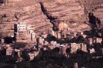 Palacio sobre la Roca, en el valle de Wadi Dhahr, Yemen