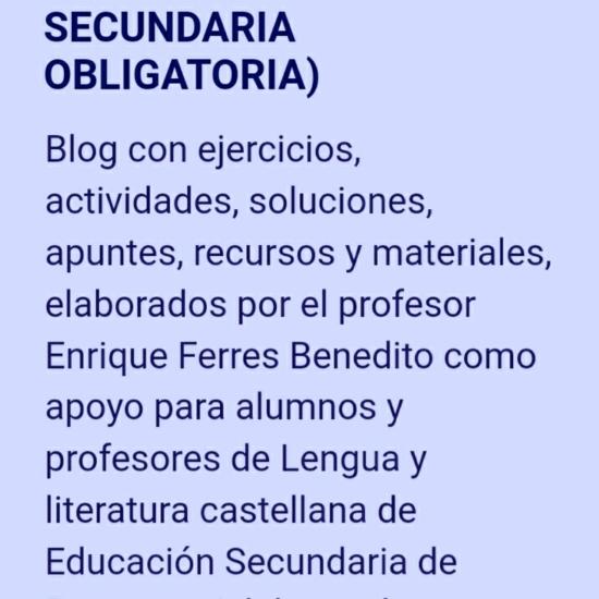 FICHAS DE LENGUA CASTELLANA Y LITERATURA