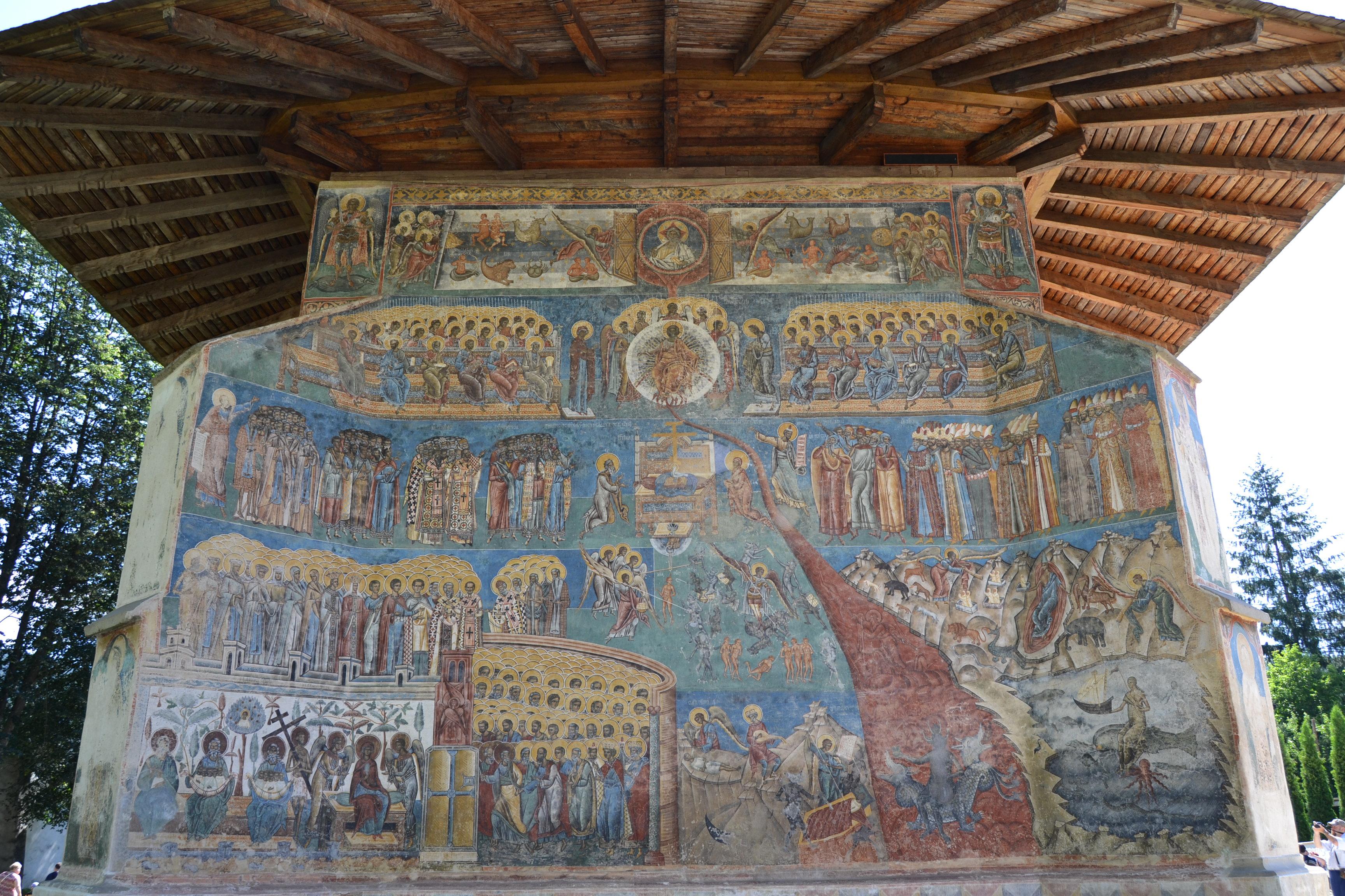 Juicio Final en el Monasterio de Voronet. Bucovina. Rumanía