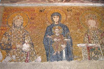 Mosaicos con escenas bíblicas en la Santa Sofía, Estambul, Turqu