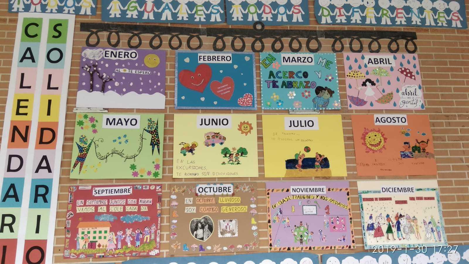Calendario de Educación Infantil por el Día Internacional de la Paz