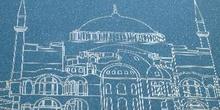 Litografía de la Santa Sofía, Estambul, Turquía