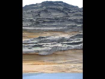 Formación de lava volcánica