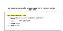 Listado Libros Educación Infantil 2019/20