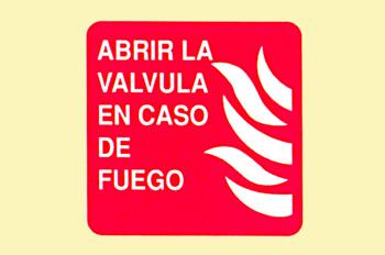 Incendio: abrir la válvula en caso de incendio