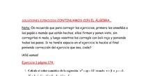 """1ºA y 1ºE Soluciones ejercicios del documento """"Continuamos con el Álgebra"""""""
