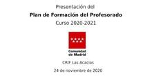 Presentación del Plan de Formación del Profesorado. Curso 2020-2021
