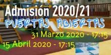 PUERTAS ABIERTAS ADMISIÓN 2020/21 CEIP VÍCTOR PRADERA