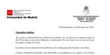 COMUNICADO PARA LAS FAMILIAS DE ALUMNOS DE 4º ESO