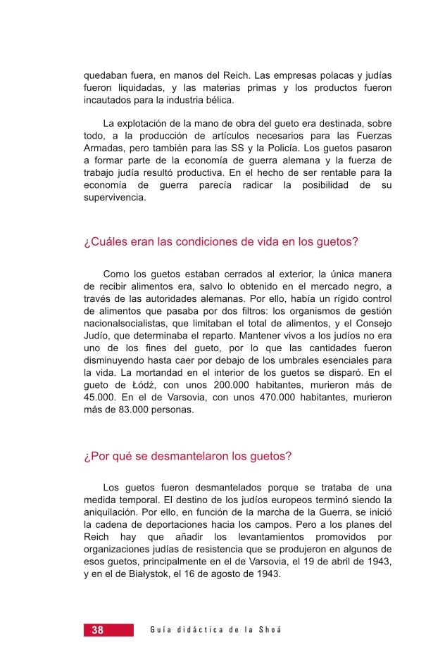 Página 38 de la Guía Didáctica de la Shoá