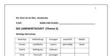 Landwirtschaft (Arbeitsblatt) - 3º ESO