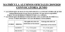 matrícula junio alumnos oficiales 2019