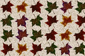 Estampado de nieve ocre, sobre fondo de hojas