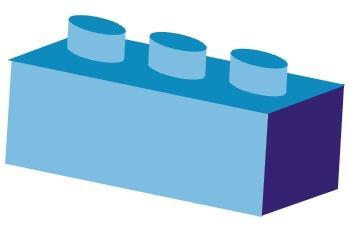 Pieza de arquitectura azul