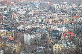 Vista aérea de Buda, Budapest, Hungría
