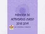Memoria de extraescolares 2018 - 2019 IES Cardenal Cisneros