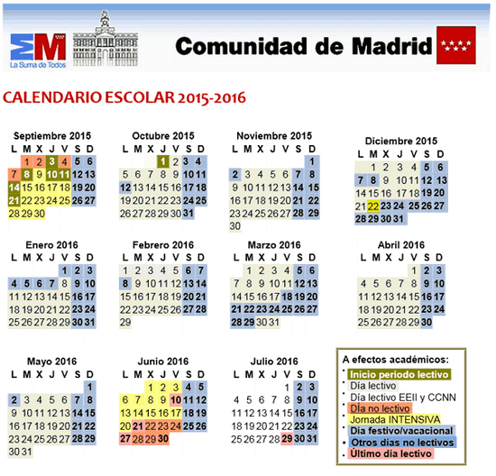 Calendario Academico Madrid.Calendario Escolar Mediateca De Educamadrid