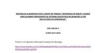 """Grupo de trabajo """"Materiales de inglés y science para alumnos procedentes de sistemas educativos no bilingües o con dificultades de aprendizaje"""""""