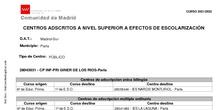 CENTROS ADSCRITOS A NIVEL SUPERIOR A EFECTOS DE ESCOLARIZACIÓN