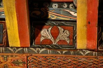 Detalle de pintura en alfarje. Planta, Huesca